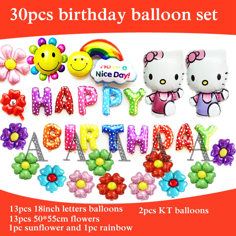 30pcs happy birthday balloons set cartoon hello kitty foil balloons for children
