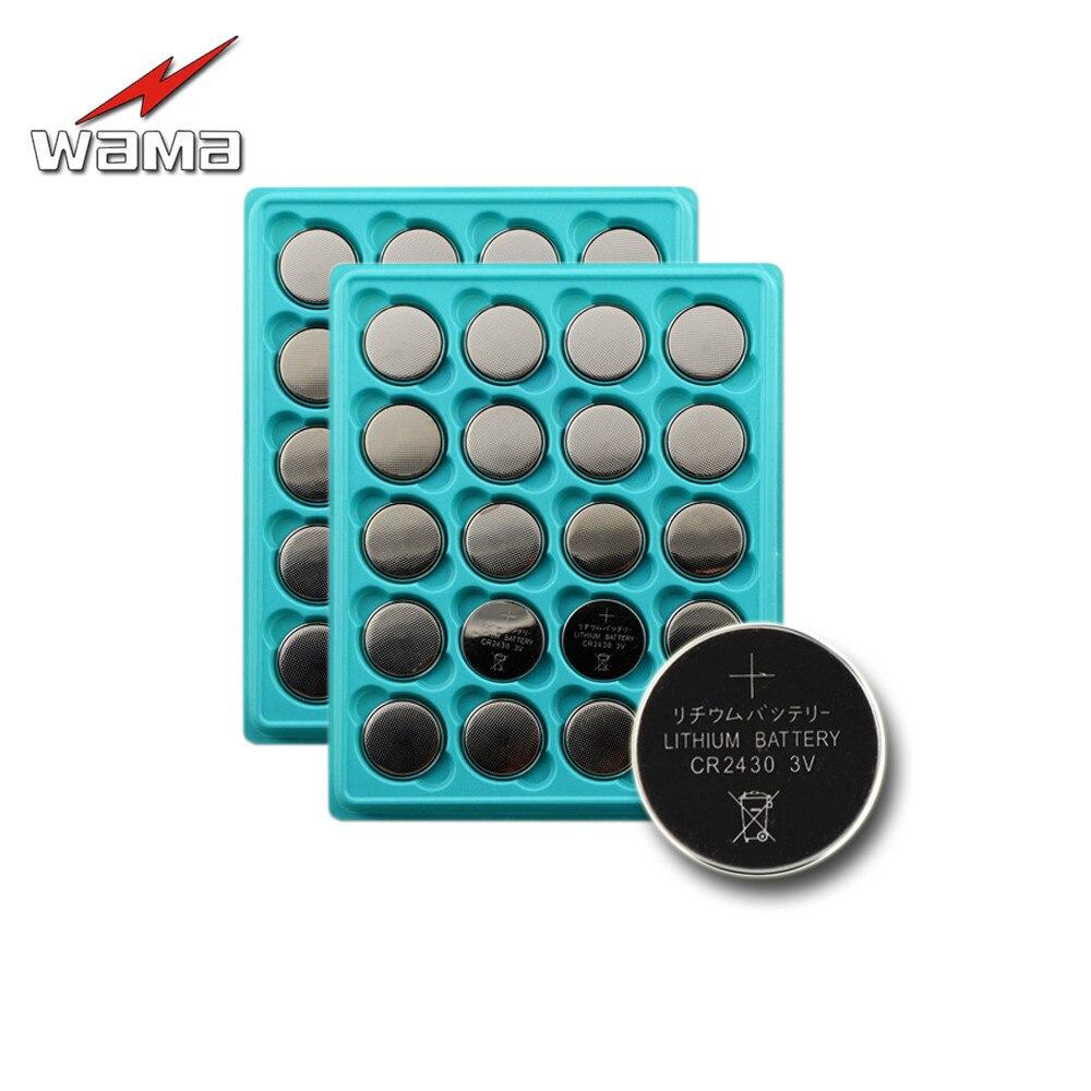 Кнопочные элементы питания Wama CR2430 2430 DL2430, 40 шт./лот, литиевая кнопка, монетная батарея, автомобильный пульт дистанционного управления, оптов...