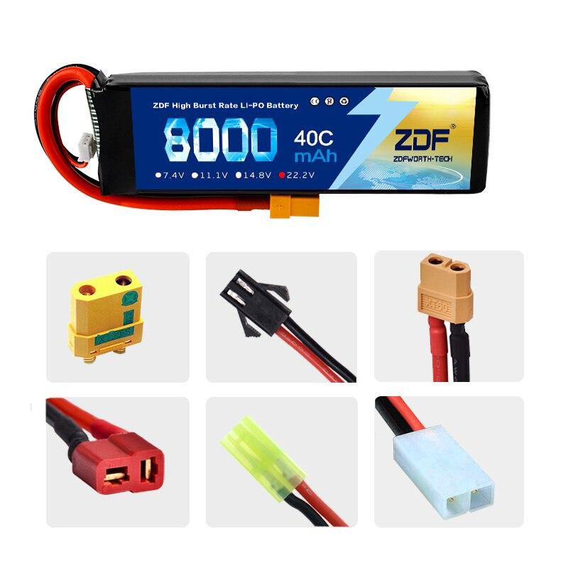 ZDF moc 22.2 V 8000 mAh 60C 6 S Lipo baterii akumulator z XT60 złącze wtykowe dla modelu RC multicoptera części acc w Części i akcesoria od Zabawki i hobby na  Grupa 3
