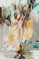 Ballerina Oil Painting on Canvas Sexy Dancing Woman Wall Art Painting for Bathroom Wall Decor Modern Arts Handmade No Framed