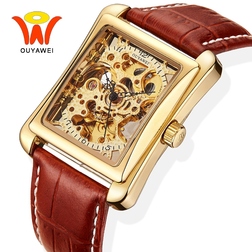 Ouyawei 2017 Luxury Skeleton Automatic Rectangle Watch Men Mechanical Self Wind Leather Wrist Watches Reloj Automatico Hombre tevise fashion auto date automatic self wind watches stainless steel luxury gold black watch men mechanical t629a with tool