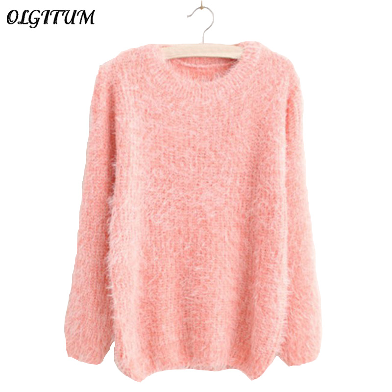 Mohair Pullover 2016 Autumn Winter Women's o-Neck Sweater Women Hedging Loose Pullover Casual Sweater Cheap Wholesale Drop Ship