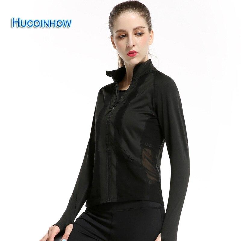 Women Black Mesh Sports Jacket female Autumn and Winter Long-sleeve Yoga Suit Running Fitness Sportswear Women's Clothes жакет base jacket long black
