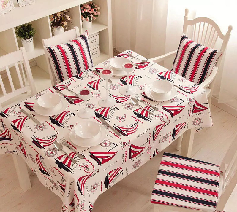 New Style Red Sailing Cotton Table Cloth Hotel Restaurant Tablecloths Desk Table Cover Coffee Table Home Party Table Cloth