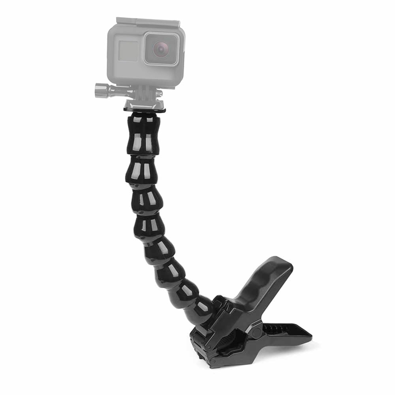 Universal 24cm Gooseneck Adjustable Flexible Jaws Clamp Mount Stand Clip Arm Monopod For GoPro Hero 6 5 4 3 for Xiaomi Yi