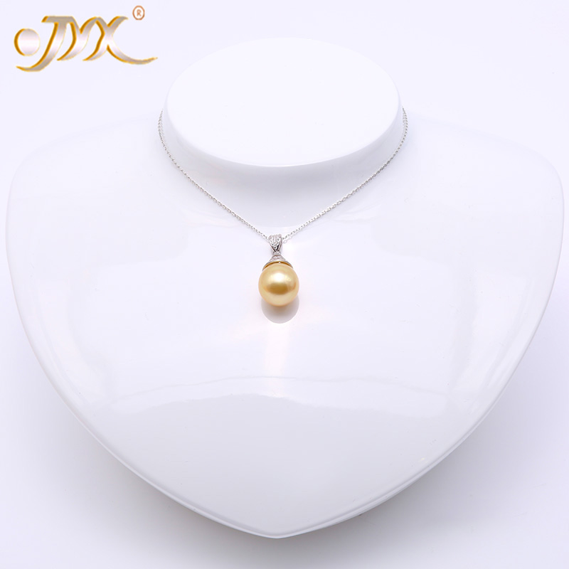 JYX 925 Silver Pendant Necklace 18 Natural 12mm Oval Golden South Sea Cultured Pearl Pendant Necklace in Sterling Silver jyx pearl silver 925 jewelry genuine 12 5mm oval golden south sea cultured pearl 925 pendant necklace in sterling silver 18
