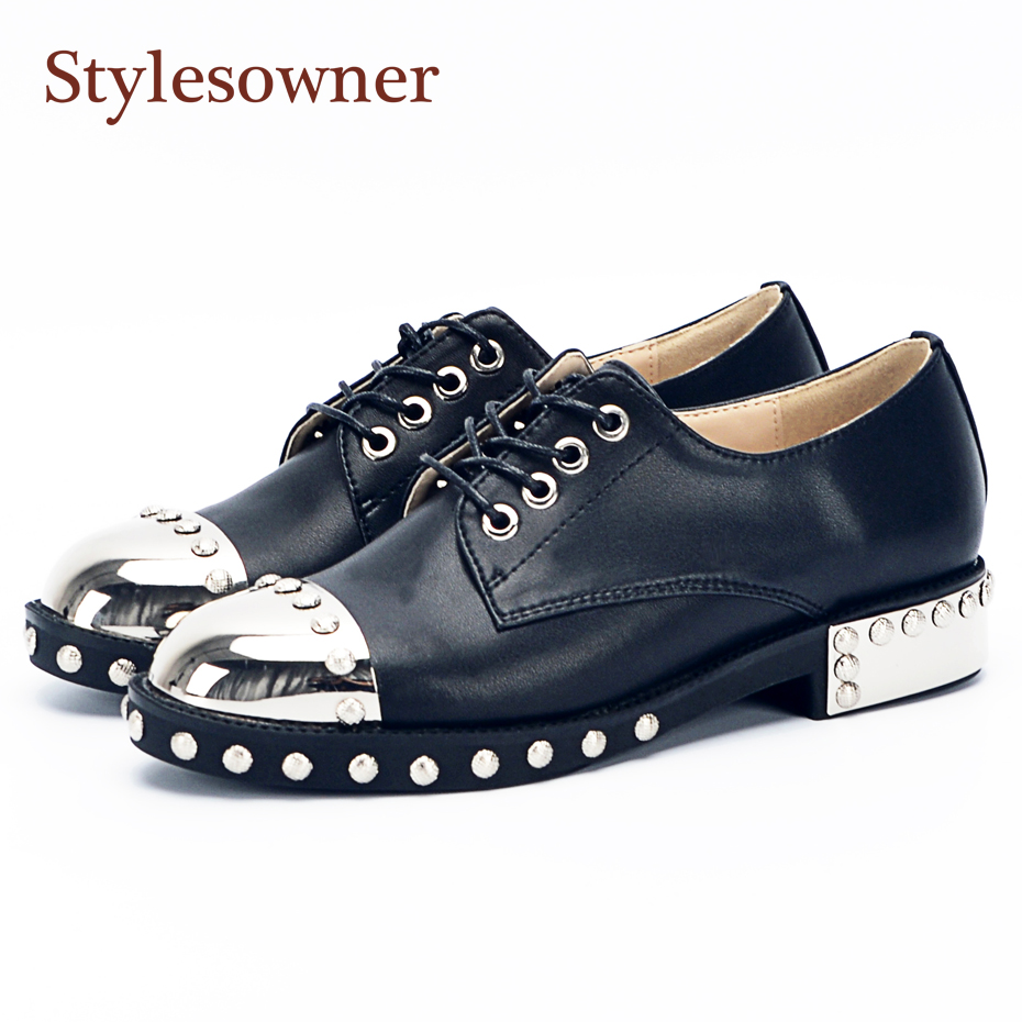 Stylesowner Fashion Metal Round Toe Rivets Women Shoes Lace Up  Low Heel Motorcycle Shoes Genuine Leather Casual Shoes Woman stylesowner women slides thick bottom falt sandals 2017 fashion suede leather crystal metal decor shoes woman cool sandal