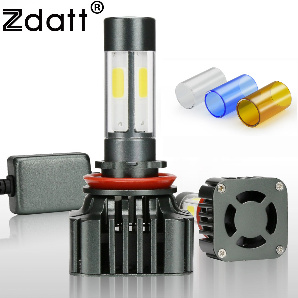 Zdatt 1Pair H8 H11 Led Lamp Bulb 100W 12000LM Car Led Headlight 12V Super Bright Auto Lamp Kits 360 Degree 4 Sides Lighting