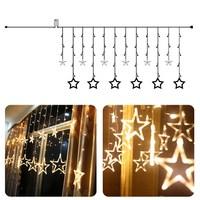2M 138Leds Star LED String Fairy Light Curtain Icicle Lamp Wedding Christmas Xmas Party Window Decor