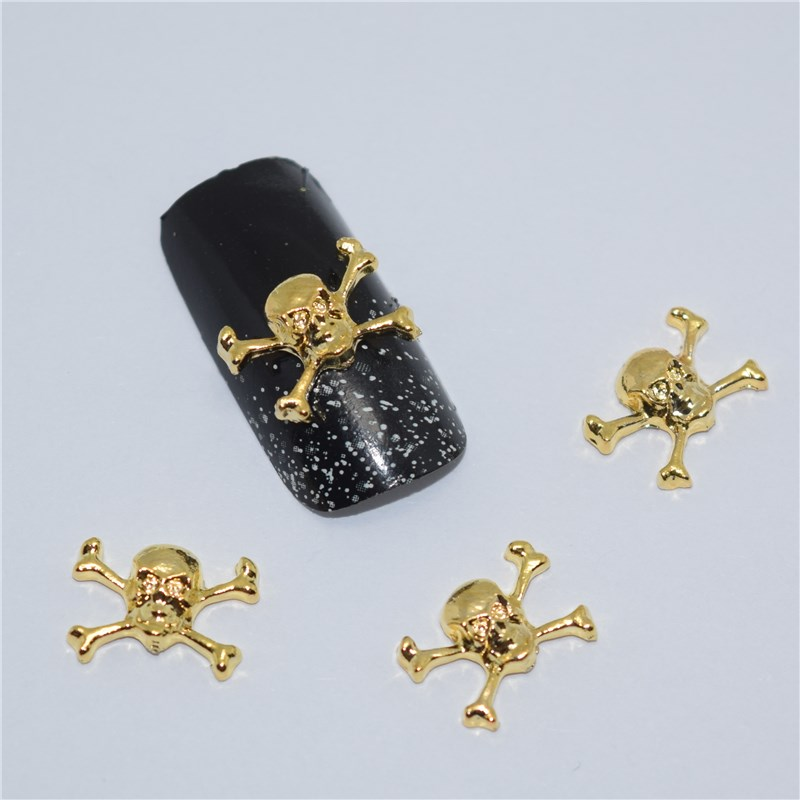 10psc New  Golden Skull 3D Nail Art Decorations,Alloy Nail Charms,Nails Rhinestones  Nail Supplies #517 10psc new pearl colored flow glitter rhinestones 3d nail art decorations alloy nail charms nails rhinestones nail supplies 687