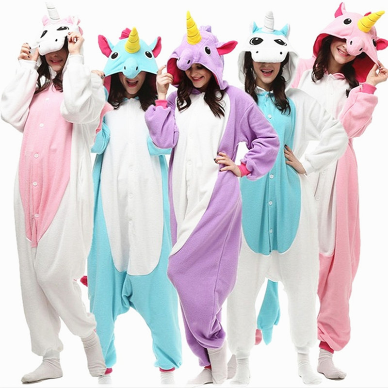 Blue Pink One Piece Unisex Unicorn Tenma Pajamas Sets Flannel Pajamas Winter Nightie Stitch Pyjamas For