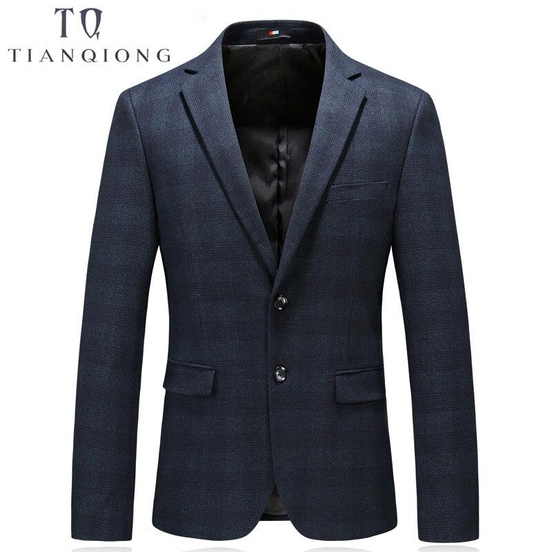TIAN QIONG Gentleman Blazer Slim Fit Fashion Man Jackets Wedding Parties Coat Outwear Plaid Blazer Button Business Jacket 4XL