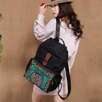 Национальный стиль большой ёмкость рюкзак вышитые Винтаж нейлон Рюкзаки для женщин Дорожная сумка литература и книги по искусству сумк