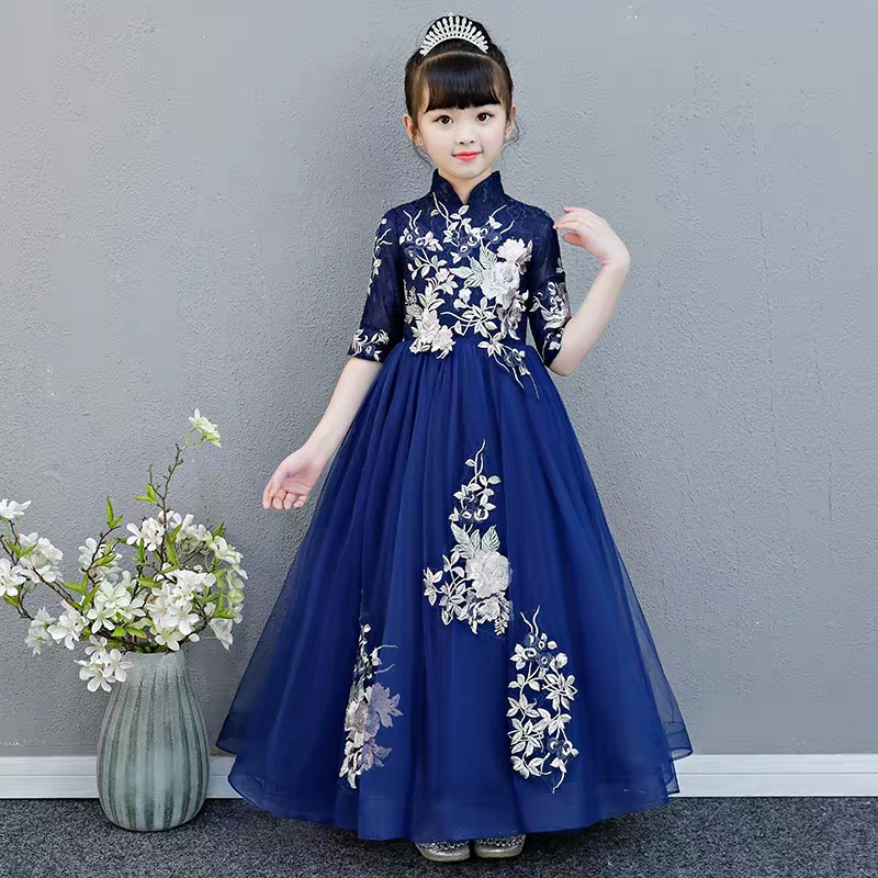 2018 High-Quality Children Girls Chinese Wind Luxury Embroidery Wedding Birthday Princess Lace Dress Kids Teens Formal Dress2018 High-Quality Children Girls Chinese Wind Luxury Embroidery Wedding Birthday Princess Lace Dress Kids Teens Formal Dress