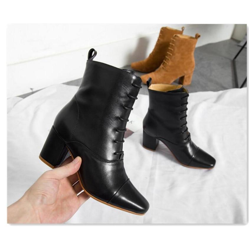 Up black Quadrata Mujer Botas Vera Heel Pelle Chelsea Caviglia Boots Leather In black High Stivali Stivaletti Di Alla Suede Delle Punta Chunky Nude Modo Suede Lace Donne Leather brown 7gOdv6dnw