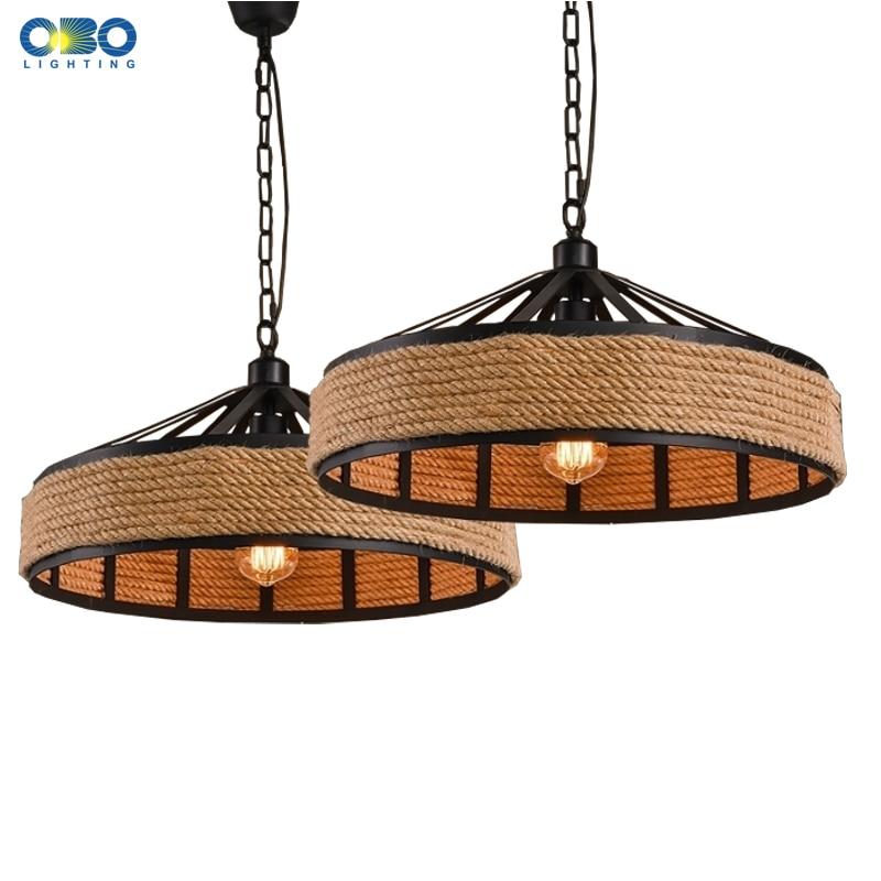 Vintage Creative Pendant Lamp Hemp Rope Iron Lampshade Shop/Coffee House Pendant Lights Bar E27 110-240V Free Shipping
