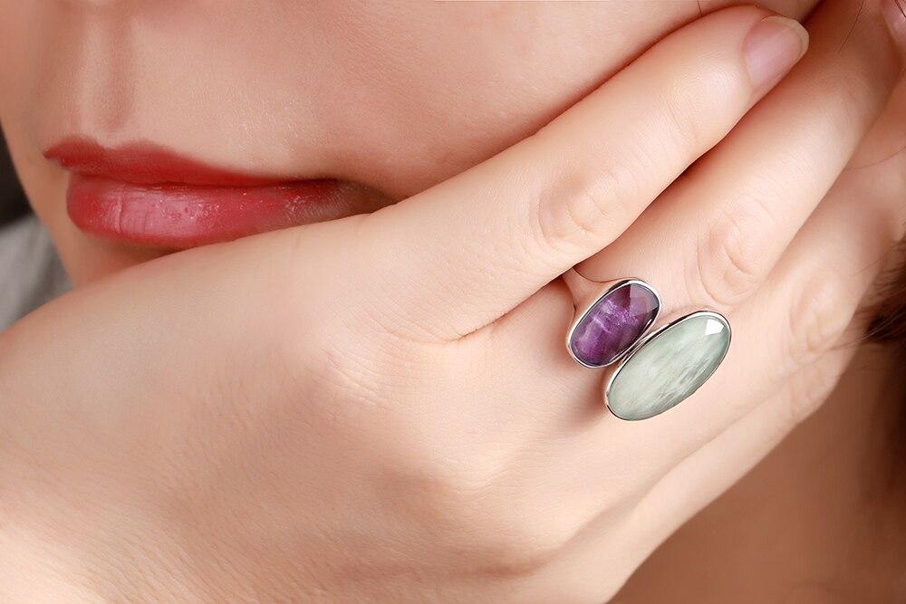 DORMITH real 925 argent sterling pierres précieuses anneaux naturel amazonite fluorite pierre anneaux pour femmes bijoux taille réglable anneau - 3