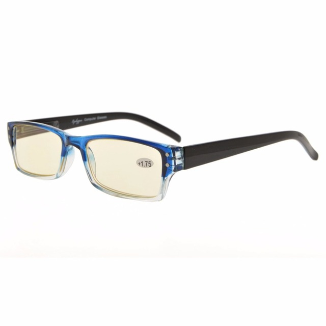 ace703a8752 CG012 Eyekepper Spring Hinge Two-Tone Color Computer Glasses Yellow Tinted  Lenses Readers Eyeglasses
