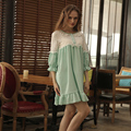 Lace Round Neck Night Gowns Royal Sleepwear Princess Three Quarter Sleeve Nightgown Female Summer Nightdress Medium-Long Lounge