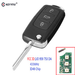 KEYYOU 3 Buttons Flip Folding Smart Remote Car Key Fob For VW Volkswagen PASSAT Polo Skoda Seat 1J0959753DA 434Mhz With ID48