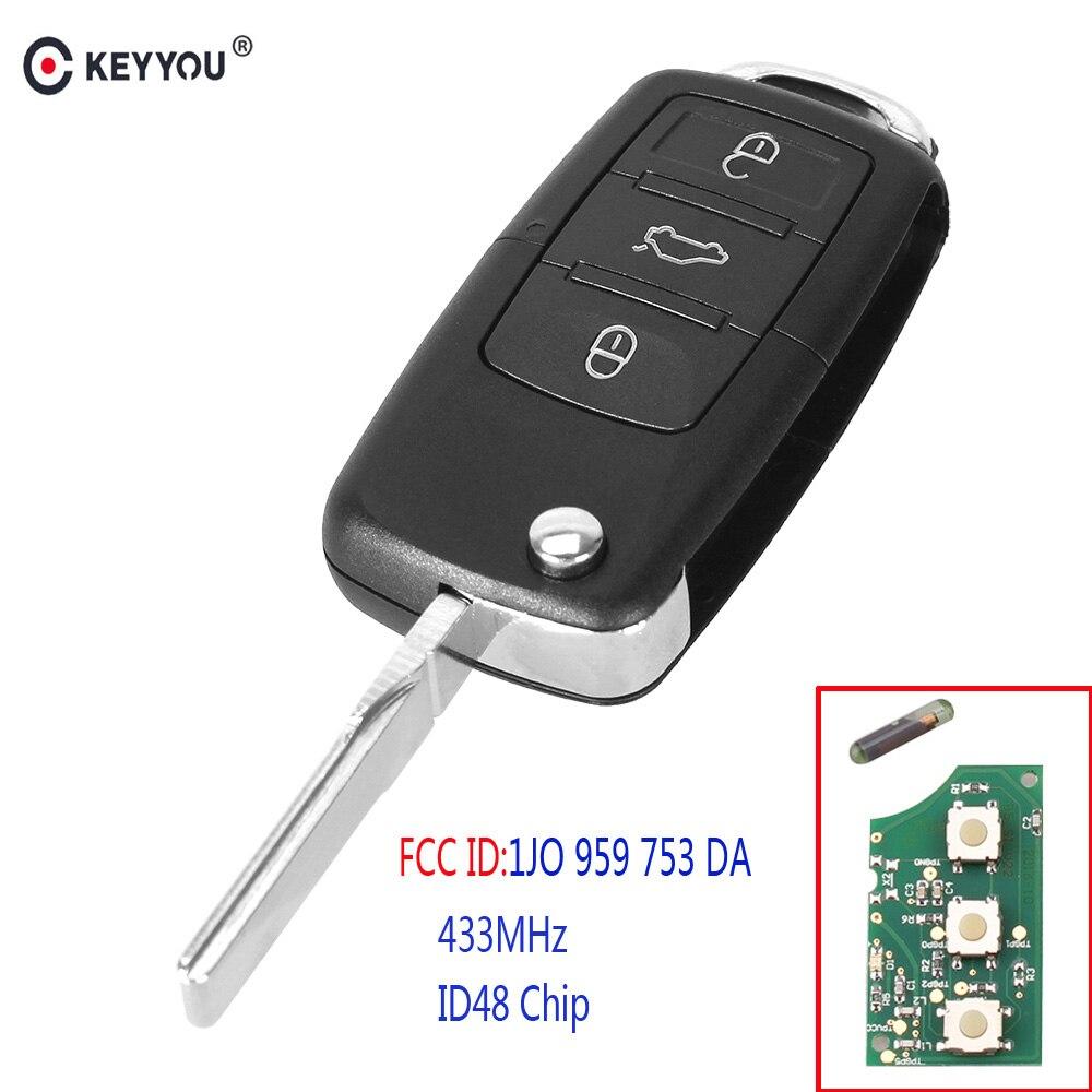 KEYYOU 3 botones plegable inteligente remoto llave de coche Fob para VW Volkswagen PASSAT Polo Skoda asiento 1J0959753DA 434 Mhz con ID48