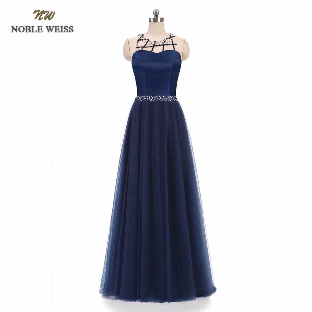 NOBLE WEISS Elegant O-Neck A-Line Beading Evening Dress Cheap Dark Navy Prom Dresses Robe De Soiree Party Dress