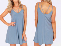 European Code Camisole Split Joint Easy Dress