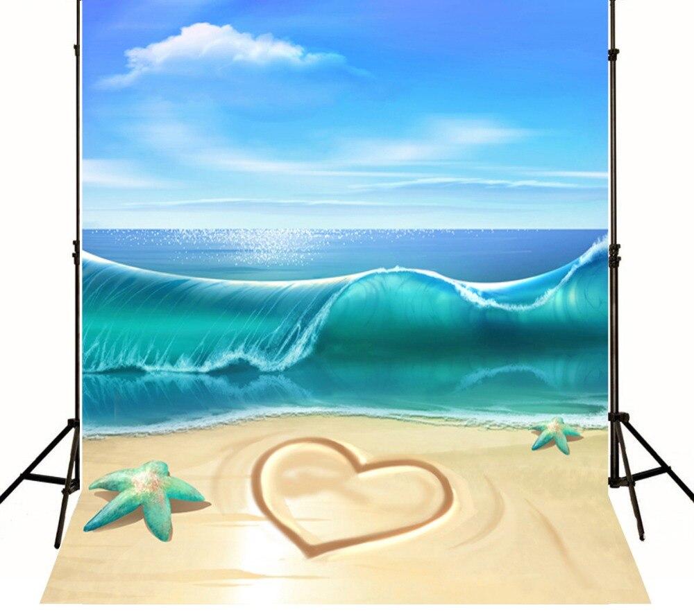 5x7ft Mare E Spiaggia Amore Matrimonio Sfondi Per Foto Studio