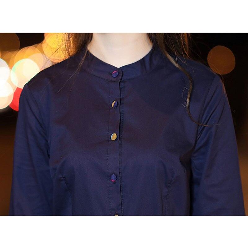 De Robe D'été Qualité Un Femmes Bleu Manches cou Robes Moitié Casual Travail Nouvelle Haute O Chemises marine Coton Rose 2018 Mode lin qgwZx4nS