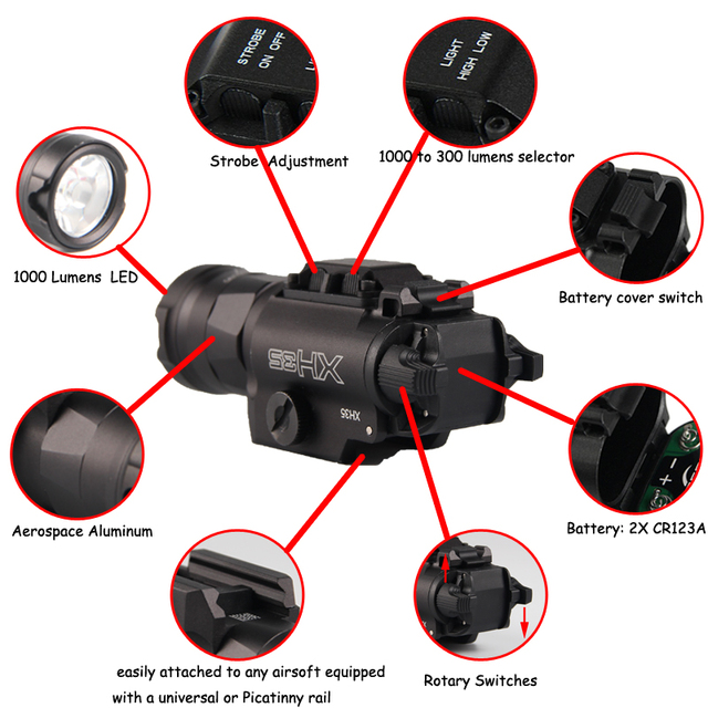 XH35 Weapon light Tactical Flashlight Airsoft Dual Output Ultra-High White LED Brightness Strobe Adjustment Weaponlight Hunting