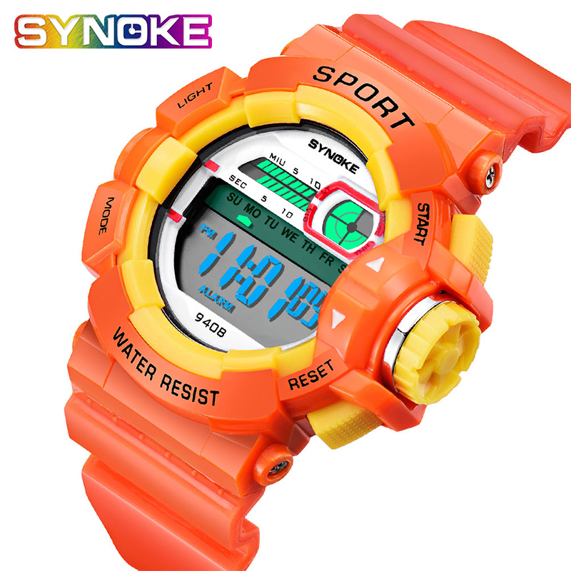 SYNOKE Children's Waterproof Fall-proof Watch Primary School Students New Year Gift Electronic Watch Age Boys Girls Kid's Watch