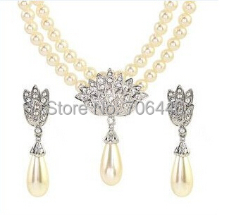 Rose Gold Bridal Jewelry Sets Cream Faux Pearl Rhinestone Crystal - Fashion Jewelry - Photo 4