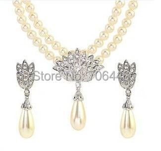 Rose Gold Bridal Jewelry Set Cream Faux Pearl Rhinestone Crystal - Perhiasan fashion - Foto 4