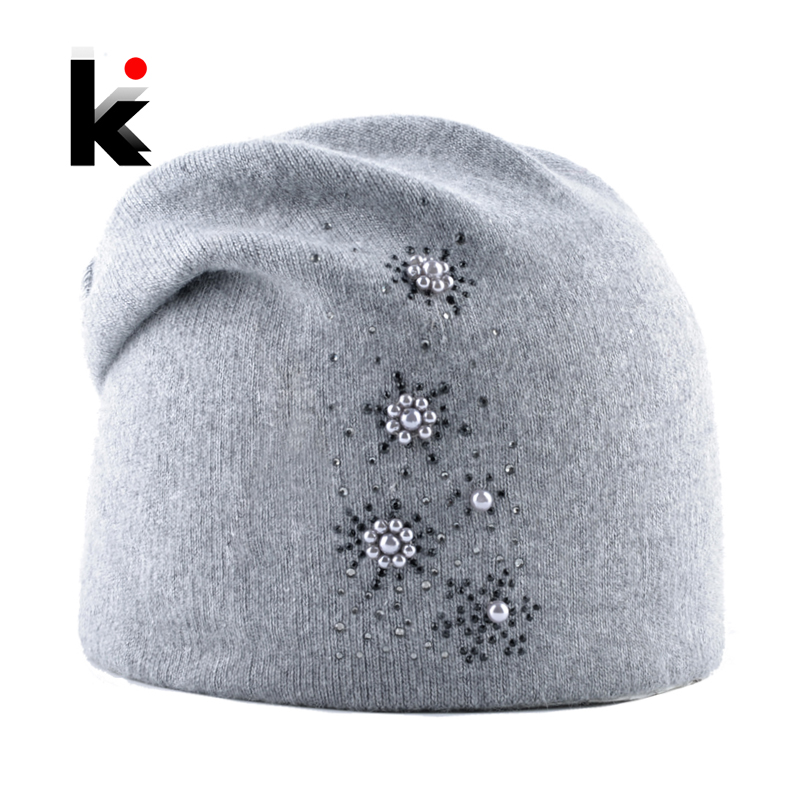 New Hats For Women Autumn Winter Soft Knitted Wool Beanies Hat Ladies Fashion Knitting Rhinestone Pearls Bonnet Caps Female