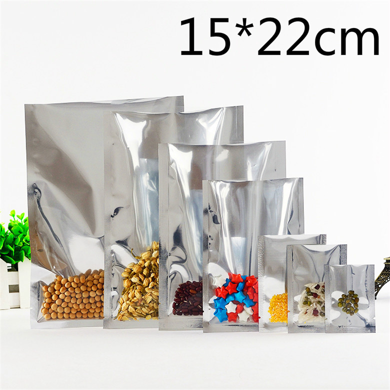 15*22cm Open Top Heat Seal Silvery Aluminum Foil Clear Plastic Packing Packaging Bag Nuts Tea Food Storage Vacuum Pouches