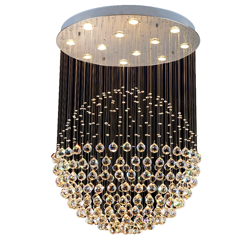 Modern minimalist restaurant chandelier circular crystal lamps Led lustre hanging line lamp Living room bedroom chandeliers in Chandeliers from Lights Lighting