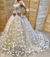 Fabulous Formal Bridal Gowns With 3D Butterflies Appliques Beading V Neck Sexy Tulle Wedding Dress Lace Top Any Size Any Color