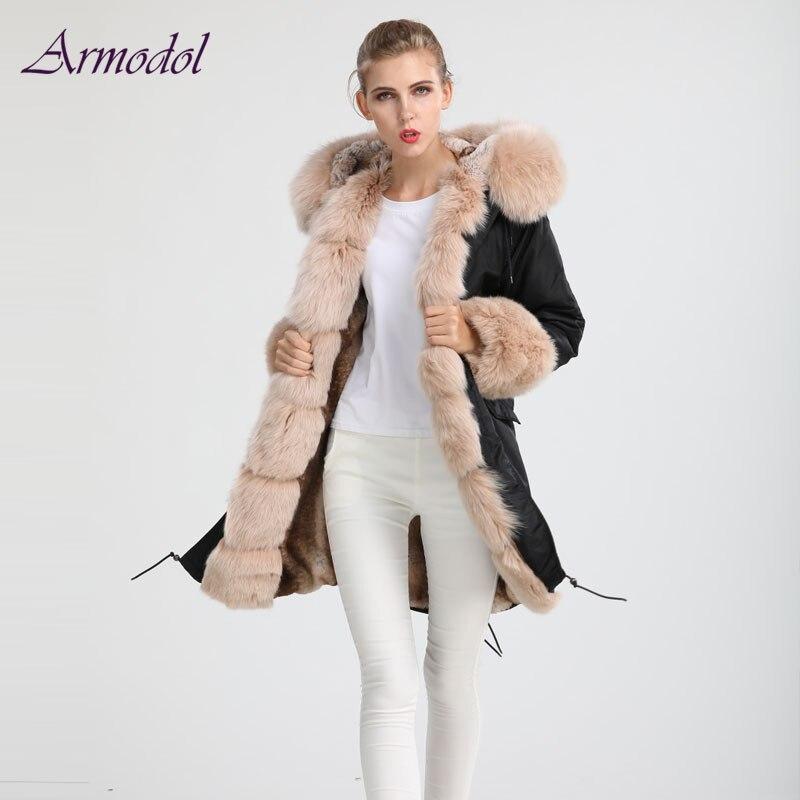 2017 New Winter Design Camouflage jacket Waterproof Fabric Black Jacket Fox fur Collar Wind Coat