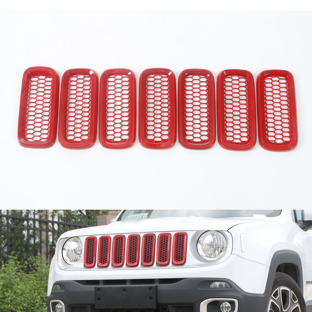 4 Colors ABS 7pcs Car Front Grille Insert with Grid Trims Frame Decoration For Jeep Renegade 2015 2016 2017 Car Styling Covers 2pcs front grille grill cover trims frame for nissan teana altima 2016 2017 car styling