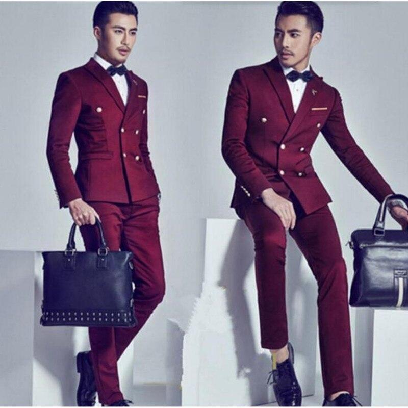 Los hombres por encargo Trajes guapo novio Trajes solapa doble botonadura  moda hombres wedding Trajes esmoquin (chaqueta + Pantalones) 24f4afe8bb4f
