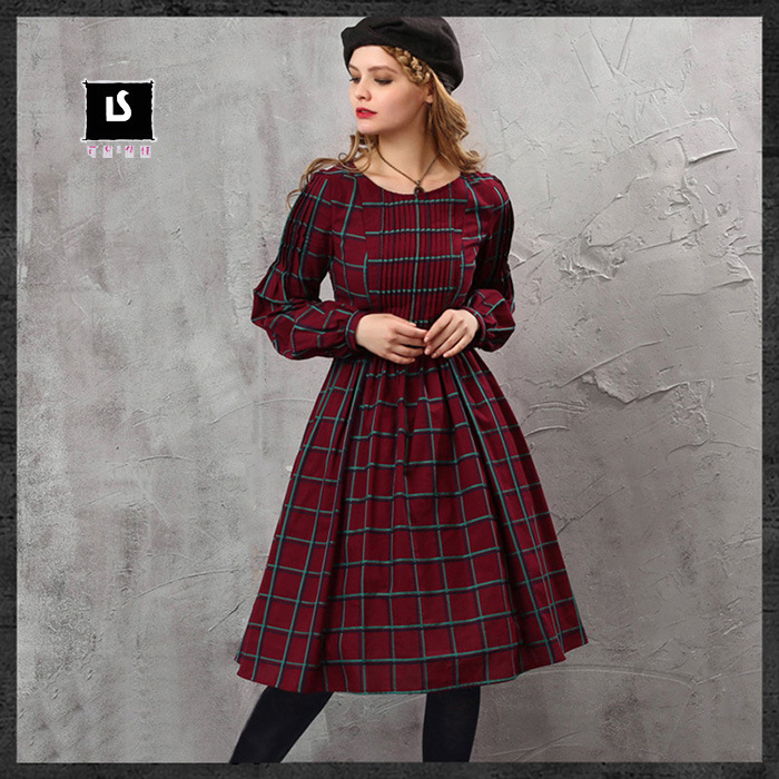 63357044734a DEMON STYLE 2015 Autumn new women s elegant plaid swing hem dress women s  clothing original design-in Dresses from Women s Clothing on Aliexpress.com  ...