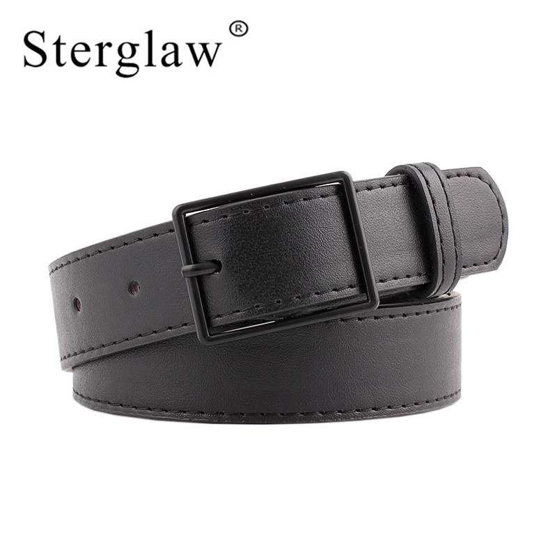 105x3cm New Trend Female Black Square Buckle Wide Pants Belts For Women Jeans 2020 Luxury Leisure Brown Feminine Waist Belt N050