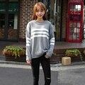 2016 Harajuku Estilo coreano Mujeres Suéteres Y Suéteres de Invierno Kawaii Lindo Abrigos Raya Perezoso Suéter de Gran Tamaño Suéter de Las Mujeres