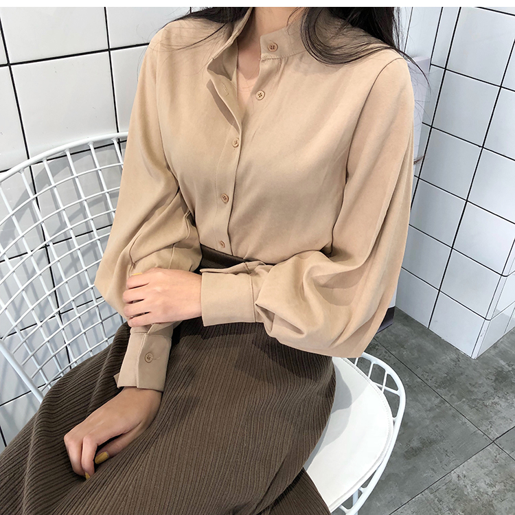 2018 new spring women chic vintage stand collar blouse elegant solid color lantern sleeve top female casual work shirts tops