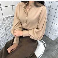 2018 nowa wiosna kobiety chic kołnierz stójka w stylu vintage bluzka elegancki jednolity kolor top z rękawem typu lampion kobiet w stylu casual, biurowy koszule topy