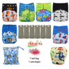 OhBabyKa Washable Baby Cloth Diaper Bamboo Charcoal Reusable All In Two Pocket Diaper Adjustable 6pcs Bamboo