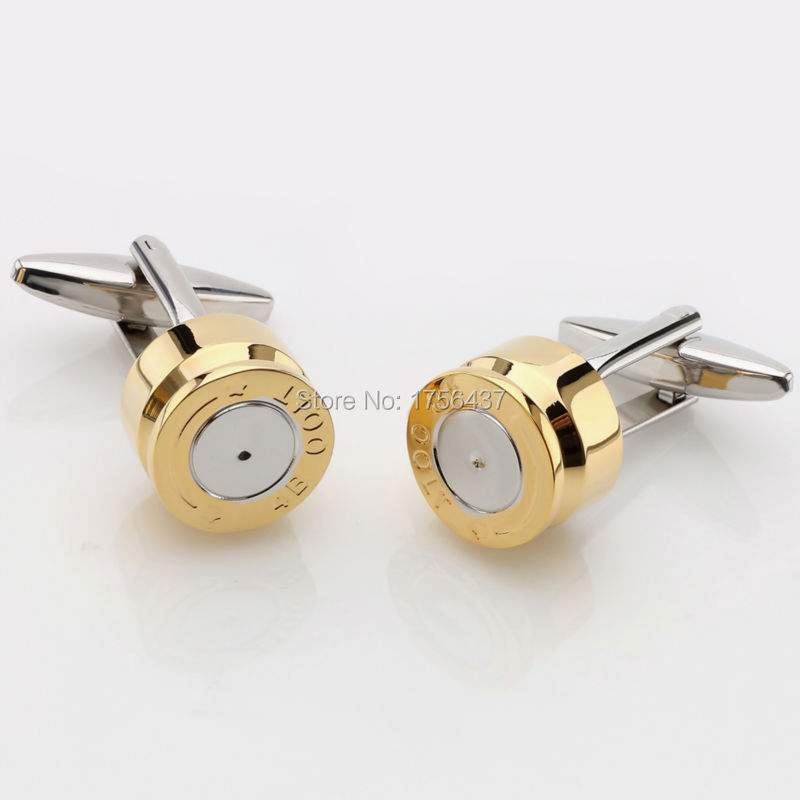 Lepton Bullet Cufflinks for Mens Gold Color Bullet Design Cuff links Men Wedding Groom Shirt Cuffs Cufflink Relojes gemelos low key luxury tiger eye stone cufflinks for mens gold color plated lepton high quality brand round stone cuff links best gift