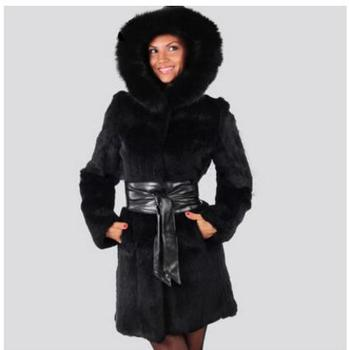 New  Female Hooded Mink Fur Jackets Long Section Casaco De Pele Large Size Casual Womens Fur Overcoats Warm Clothes S/6Xl Cj81
