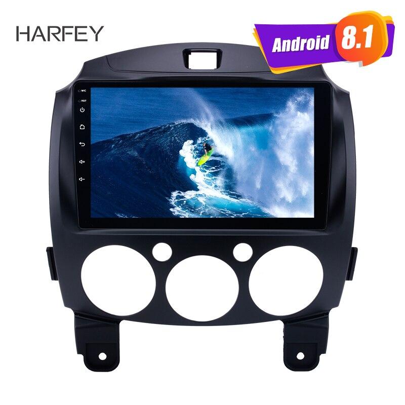 Harfey Android 8,1 9 радио GPS навигация для MAZDA 2/Jinxiang/DE/третьего поколения 2007 2014 с Bluetooth USB wifi OBD2 DVR