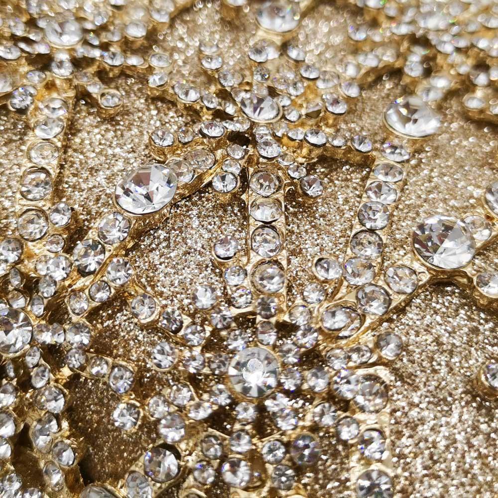 Image 3 - Boutique De FGG Hollow Out Flower Clutch Minaudiere Bag Women  Crystal Evening Bags Wedding Party Dinner Floral Handbags  PursesTop-Handle Bags